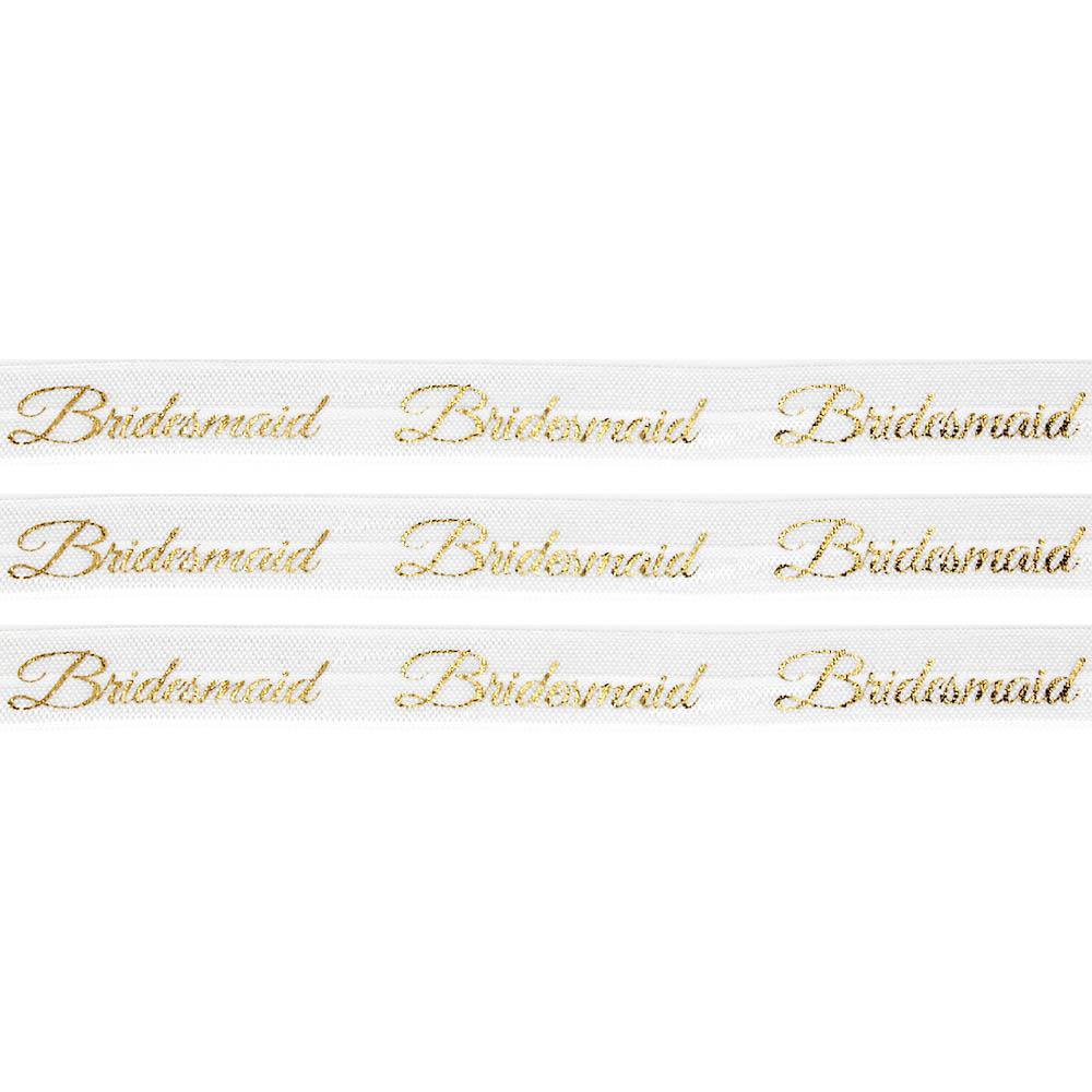 """Elastická stuha – bílá – """"bridesmaid"""" – 1,5 cm – 30 cm – 1 ks"""
