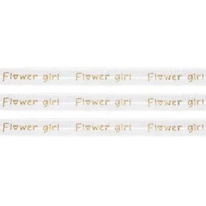 """Elastická stuha – bílá – """"flower girl"""" – 1,5 cm – 30 cm – 1 ks"""
