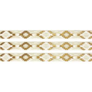 Elastická stuha – krémová – aztécký kosočtverec – 1,5 cm – 30 cm – 1 ks