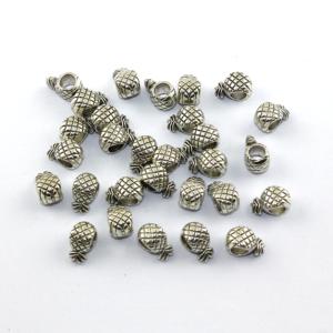 Korálek s širokým průvlekem – ananas – stříbrný – 12 x 7 x 6 mm – 1 ks