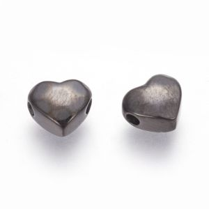 Korálek z nerezové oceli – ocelově šedý – srdce – 7,5 x 8,5 x 4 mm – 1 ks