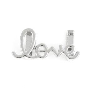 """Korálek z nerezové oceli – platinový – """"love"""" – 13 x 29 x 5 mm – 1 ks"""