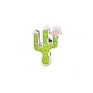 Korálek z nerezové oceli – platinový – kaktus – 14 x 9,5 x 4,5 mm – 1 ks