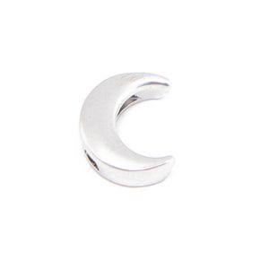 Korálek z nerezové oceli – platinový – měsíc – 14,5 x 11,5 x 5,5 mm – 1 ks