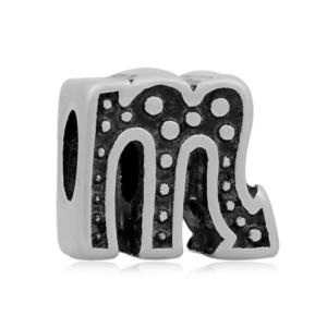 Korálek z nerezové oceli s širokým průvlekem – znamení zvěrokruhu – štír – 11 x 12 x 8 mm  – 1 ks