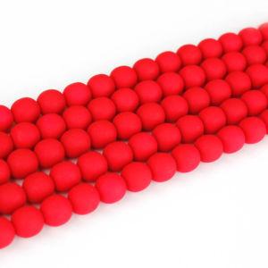 Korálky Estrela NEON – červené – ∅ 6 mm – 10 ks