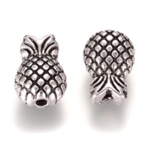 Kovový korálek – ananas – starostříbrný – 12,5 x 8,5 x 6,5 mm – 1 ks