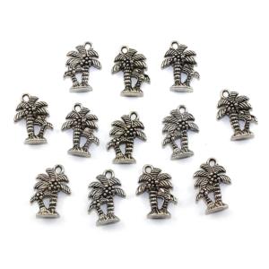 Kovový přívěsek – stříbrný – palma – 18 x 13 x 5 mm – 1 ks