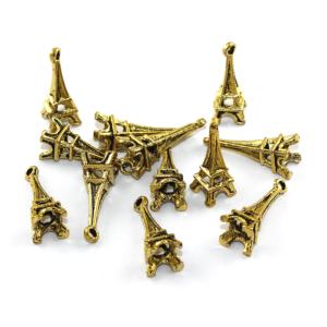 Kovový přívěsek – zlatý – Eiffelova věž – 23 x 8 x 8 mm – 1 ks