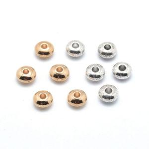 Mosazný korálek – rondelka – platinový – 4,5 x 4,5 x 2,5 mm – 1 ks