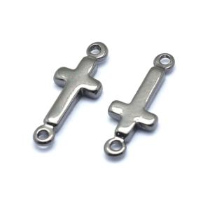 Mosazný mezidíl – ocelově šedý – kříž – 13,5 x 5 x 1,5 mm – 1 ks