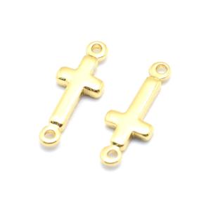 Mosazný mezidíl – zlatý – kříž – 13,5 x 5 x 1,5 mm – 1 ks