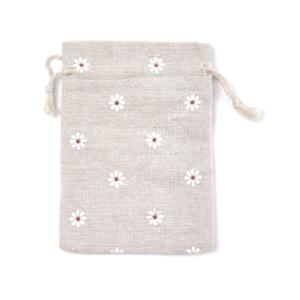 Plátěný pytlíček – s květinami – režný – 14 x 10 cm – 1 ks