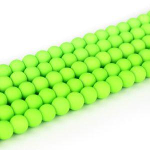 Pogumované korálky – neonově zelené – ∅ 8 mm – 10 ks