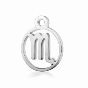 Přívěsek z chirurgické oceli – znamení zvěrokruhu – štír – 13,4 x 10,8 x 1 mm – 1 ks