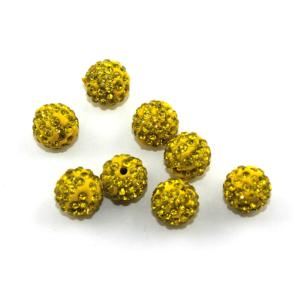 Shamballa – žlutá – 10 x 10 mm – 1 ks