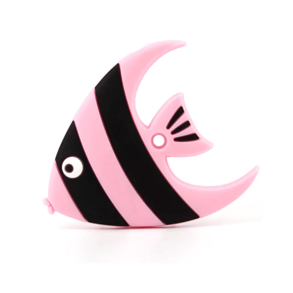 Silikonové kousátko – ryba – pastelově růžové – 78 x 92 x 10 mm – 1 ks