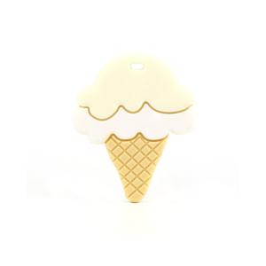 Silikonové kousátko – zmrzlina – krémově žluté – 60 x 50 x 6 mm – 1 ks