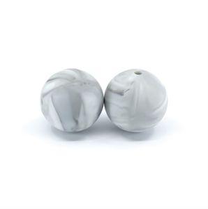 Silikonový korálek – mramorově šedý – ∅ 19 mm – 1 ks