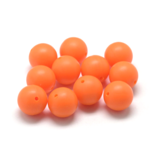 Silikonový korálek – oranžový – ∅ 9 mm – 1 ks