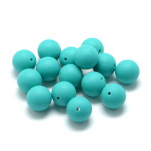 Silikonový korálek – tmavě tyrkysový – ∅ 9 mm – 1 ks