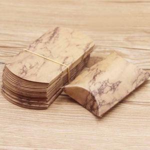 Skládací papírová dárková krabička – hnědá – mramor – 9,9 x 5,5 x 0,1 cm – 1 ks