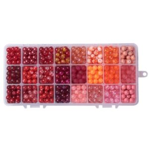 Skleněné korálky – červený mega mix – ∅ 8 mm – krabička