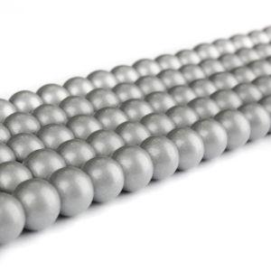 Skleněné korálky – stříbrné – ∅ 6 mm – 10 ks
