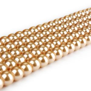 Voskované perly – oranžovozlaté – Ø 8 mm – 10 ks