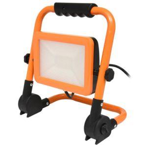 Oranžový LED reflektor se stojanem 100W denní bílá