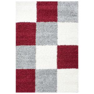 Chlupatý kusový koberec Life Shaggy 1501 červený