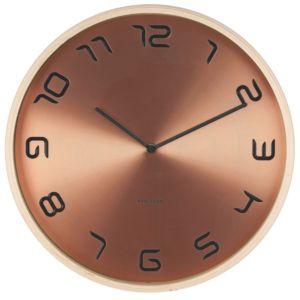 Nástěnné hodiny Karlsson Bent Wood 35 cm   měděné