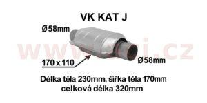 katalyzátor benzín EURO 2/3 do 3500 ccm/1400 ccm – 90 PS, ker. vložka, vnitř. průměr 58 mm (plochý)