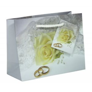 Dárková taška bílá růže 32,7×13,6×26,4cm