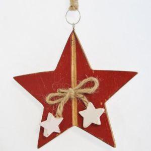 Dřevěná dekorační hvězda s malými hvězdičkami červená