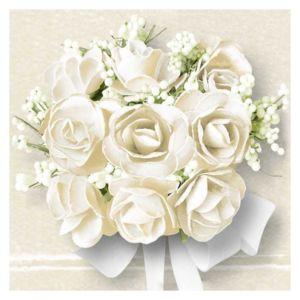 Papírové ubrousky Bílé růže kreslené balení 20ks