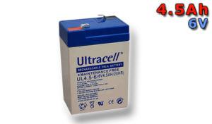 Ultracell UL4.5-6 (6V – 4,5Ah), VRLA-AGM záložní baterie