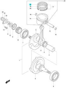 [18] Pístní kroužek 1ST / verze DLX (FIG07) – Hyosung 450 Sport