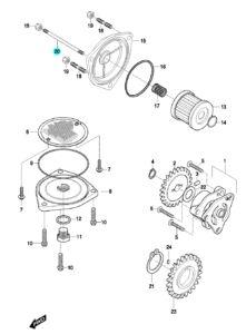 [20] Šroub závrtný (olejové čerpadlo a filtr) – Hyosung GT 650 N