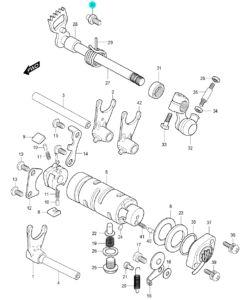 [30] Šroub se zarážecím kolíkem (systém převodového řazení) – Hyosung GV 250