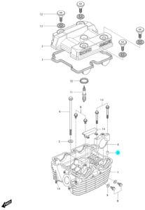 [7] Pouzdro (hlava zadního válce) – Hyosung GV 250i D (FI Delphi)