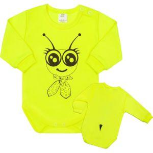 Kojenecké body s dlouhým rukávem New Baby Zvířátko Včelka neonové