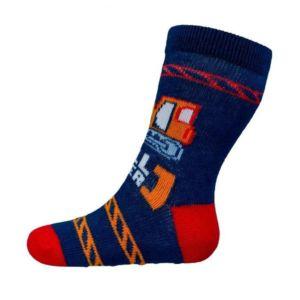 Kojenecké ponožky New Baby s ABS tmavě modré bulldozer