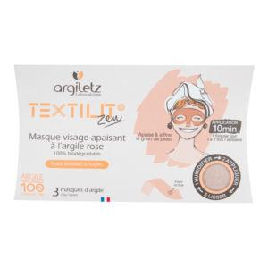 Maska pleťová zklidňující textilní s růžovým jílem 3 ks ARGILETZ