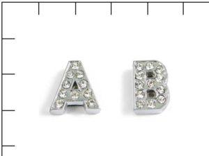 Navlékací písmenka -D-12mm,vysázené krystaly-7409