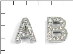 Navlékací písmenka -E- 18mm,vysázené krystaly-7386