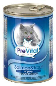 PreVital kousky kočka losos+pstruh v omáčce 415g-(Balení 12 kusů)
