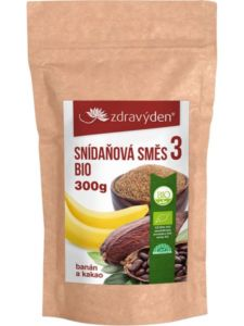 Snídaňová směs 3 BIO, banán a kakao 300g Zdravý den