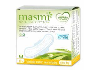 Ultratenké vložky Masmi z organické bavlny ultra day s křidélky 10 ks