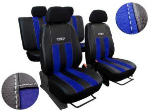 Autopotahy Volkswagen VW T5, 3 místa, GT kožené s alcantarou, modré